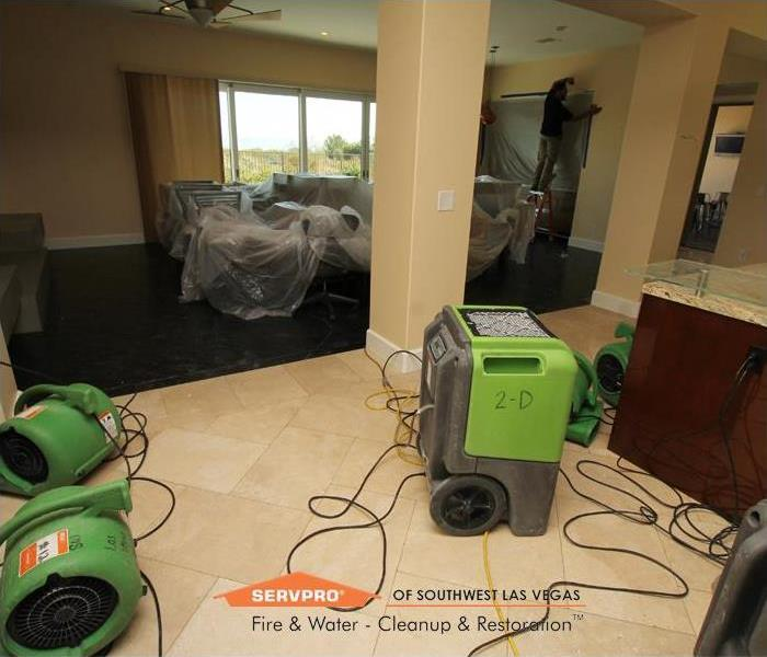 Water damage restoration equipment in use at a job site in Las Vegas.